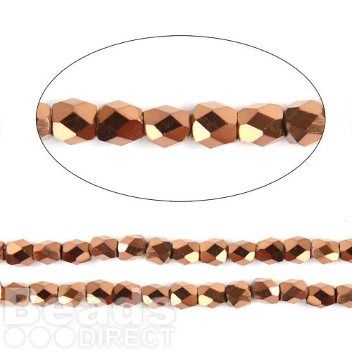 "Bronze Full Coat Essential Crystal Glass 18 Facets Round Beads 3mm 13"" Strand"