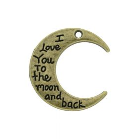 I love you to the moon and back / pendant / 29x27mm / antique bronze / hole 2mm / 1pcs