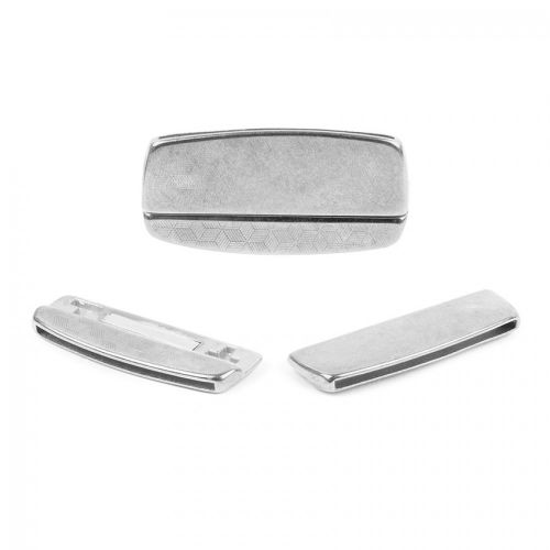 Ant Silv Plated Zamak Hammered Irregular Magnet Clasp 22x45mm