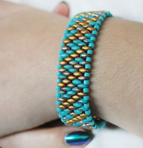 How to make a superduo bead bracelet - jewellery making video tutorial