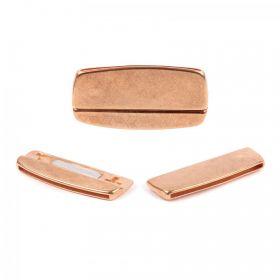 RoseGold Plated Zamak Hammered Irregular Magnet Clasp 22x45mm
