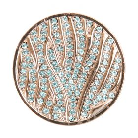 Rose Gold Plated Blue Crystal Coin Disk for Interchangeable Locket 32mm Pk1