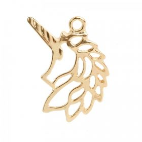 Gold Plated Origami Unicorn Head Charm 18x30mm Pk1