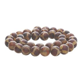 Tibetan agate / round / 8mm / brown / 46pcs