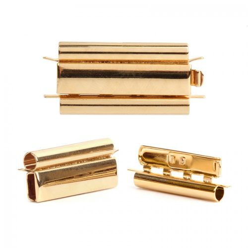 Gold Plated Beadslide Clasp Smooth Design 13x24mm Pk1