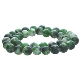 Jade / round / 6mm / black-green-white / 68pcs