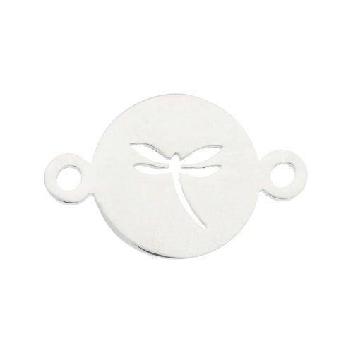 Dragonfly / connector / surgical steel / 14x22x1mm / silver / 1pcs