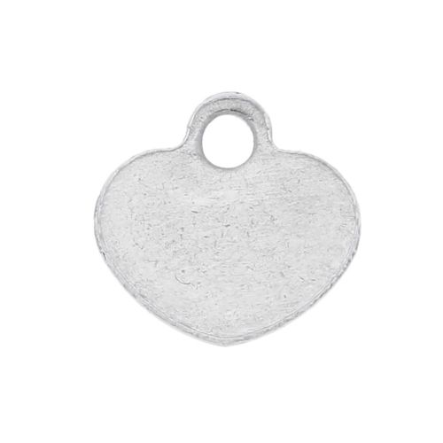 Heart / pendant / surgical steel / 5.5x5.5x1mm / silver / 8pcs