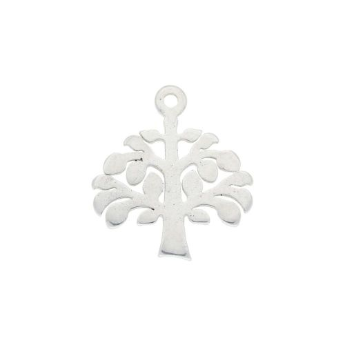 Tree / charm / surgical steel / 12x11mm / silver / 2pcs