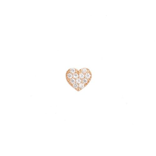 X-Rose Gold Plated Flat Heart Bead Cubic Zirconia 8mm Pk1