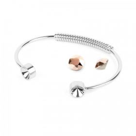 Silver Plated Coil Bangle Kit SS39 made with Swarovski Crystal Rose Gold F Pk1