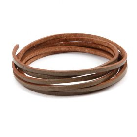 Dark Bronze Flat Leather Cord 2mm Pre Cut 1metre