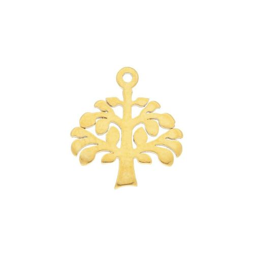 Tree / charm / surgical steel / 12x11mm / gold / 2pcs