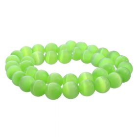 Cat's eye / round / 8mm / lime / 50pcs