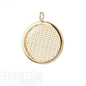 Gold Plated Sieve Seed Bead Base Charm 26mm Pk1