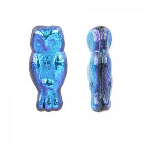 Blue Iris Preciosa Czech Glass Owl Beads 7x15mm Pk20