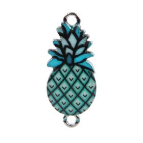 Turquoise Enamel Silver Plated Pineapple Connector Charm  15x18mm Pk1