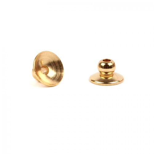 Gold Plated 6mm Bead Cap Round Pack of 2