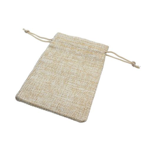 Linen bag / 9.5x11.5cm / cream / 5pcs