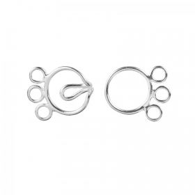 Sterling Silver 925 3 Strand Round Hook 10mm Clasp Pk1