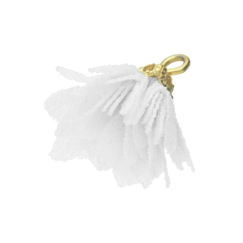 Tulle flower / with openwork tip / 18mm / Gold Plated / white / 4 pcs