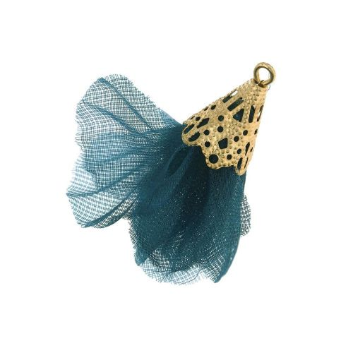 Tulle flower / with openwork tip / 30mm / Gold Plated / dark sea / 2 pcs