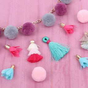 Pom Pom, Tassel Charms & Feathers