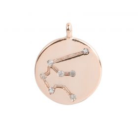 Rose Gold Plated Aquarius Constellation Zodiac Charm 11mm Pk1