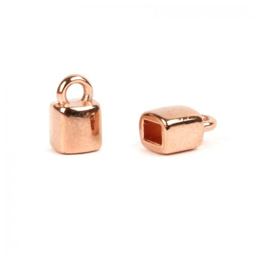 Rose Gold Plated Zamak Cord Ends 5.5x5.2mm for Flat 3mm Cord Pk2