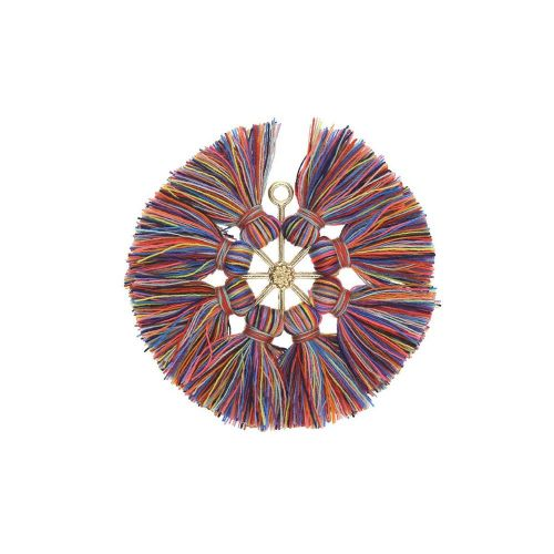Tassel / viscose thread / large round / 55mm / multicolour / 1pcs