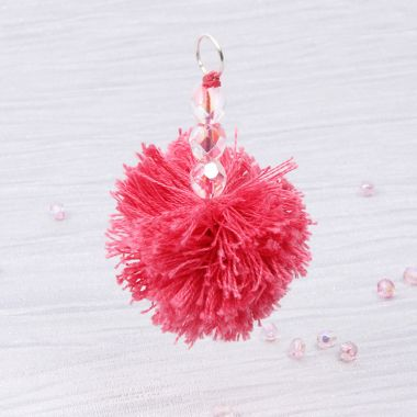 Make a Beaded Pompom Keyring