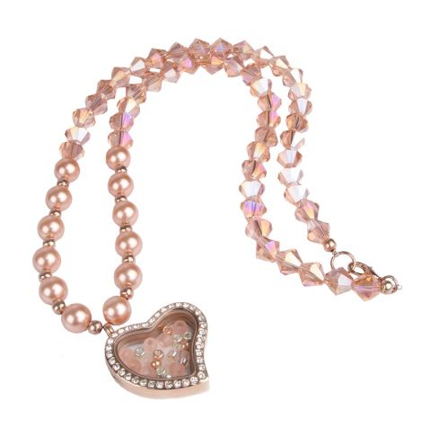 Peach Locket Necklace
