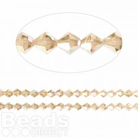 Essential Crystal 4mm Bicones Champagne AB Pk120