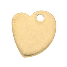 Heart / pendant / surgical steel / 11.5x10x1mm / gold / 2pcs
