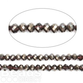"Jet 1/2 Coated Essential Crystal Faceted Glass Rondelle Beads 8mm 16""Strand"