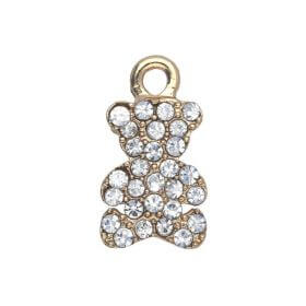 Glamm ™ Teddy Bear / charm pendant / with zircons / 16x8x2.5mm / gold plated / Crystal / 1pcs