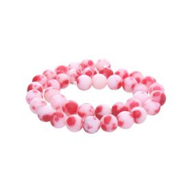 Jade / round / 6mm / red-white / 68pcs