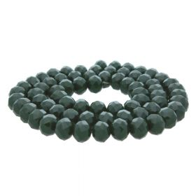 Milly™ / rondelle / 8x10mm / dark green / 70pcs