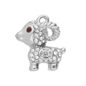 Glamm ™ Capricorn  / charm pendant / with zircons / 17x15x7mm / silver plated / 1pcs