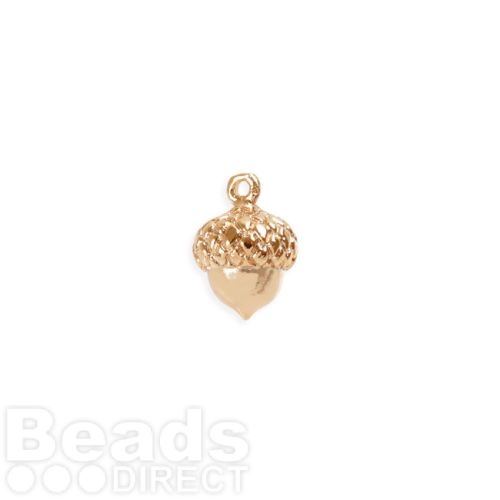 Rose Gold Plated Brass Acorn Charm 9mm Pk1