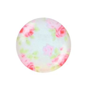 Glass cabochon with graphics K20 PT1400 / white-pink / 20mm / 2pcs