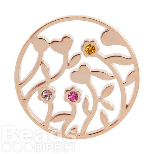 KB Rose Gold Plated Flower Filigree Coloured Crystal Coin for Interchangeable Locket 32mm Pk1