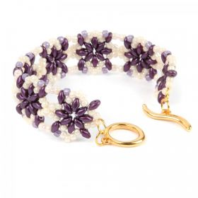 Purple and Cream Northern Star Bracelet Take a Make Break Kit - Makes x1