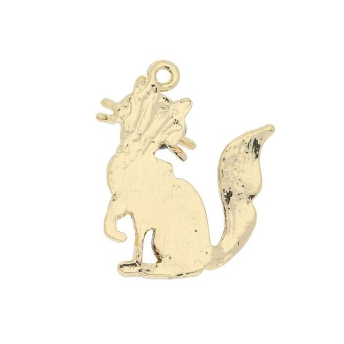 Glamm ™ Cat / charm pendant / with zircons / 24x19x3mm  / gold plated / 1pcs