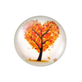 Glass cabochon with graphics K20 PT1073 / white-orange / 20mm / 2pcs