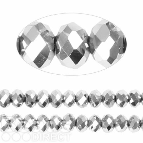 Essential Crystal Faceted 8mm Rondelle Silver 72pack