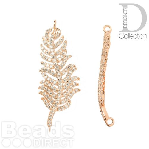 Rose Gold Plated Leaf/Feather Connector Charm Cubic Zirconia Pave Set 16x39mm Pk1