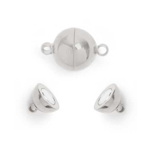 Silver Plated Magnetic Ball Clasp 10mm Pk1