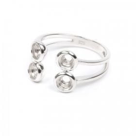 Sterling Silver 925 Ring Fits 4mm Chaton Crystals