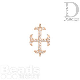 Rose Gold Plated Cross Connector Cubic Zirconia 12x16mm Pk1